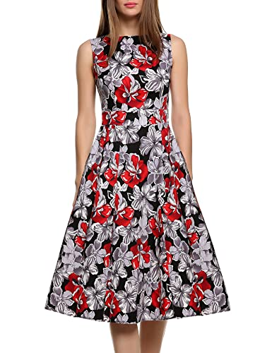 ACEVOG Women's Vintage 1950's Sleeveless Floral Spring Garden Party Picnic Dress
