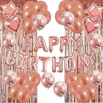 Set 49 Pack de decoraciones para fiestas de globos de cumpleaños de oro rosa, Suministro de