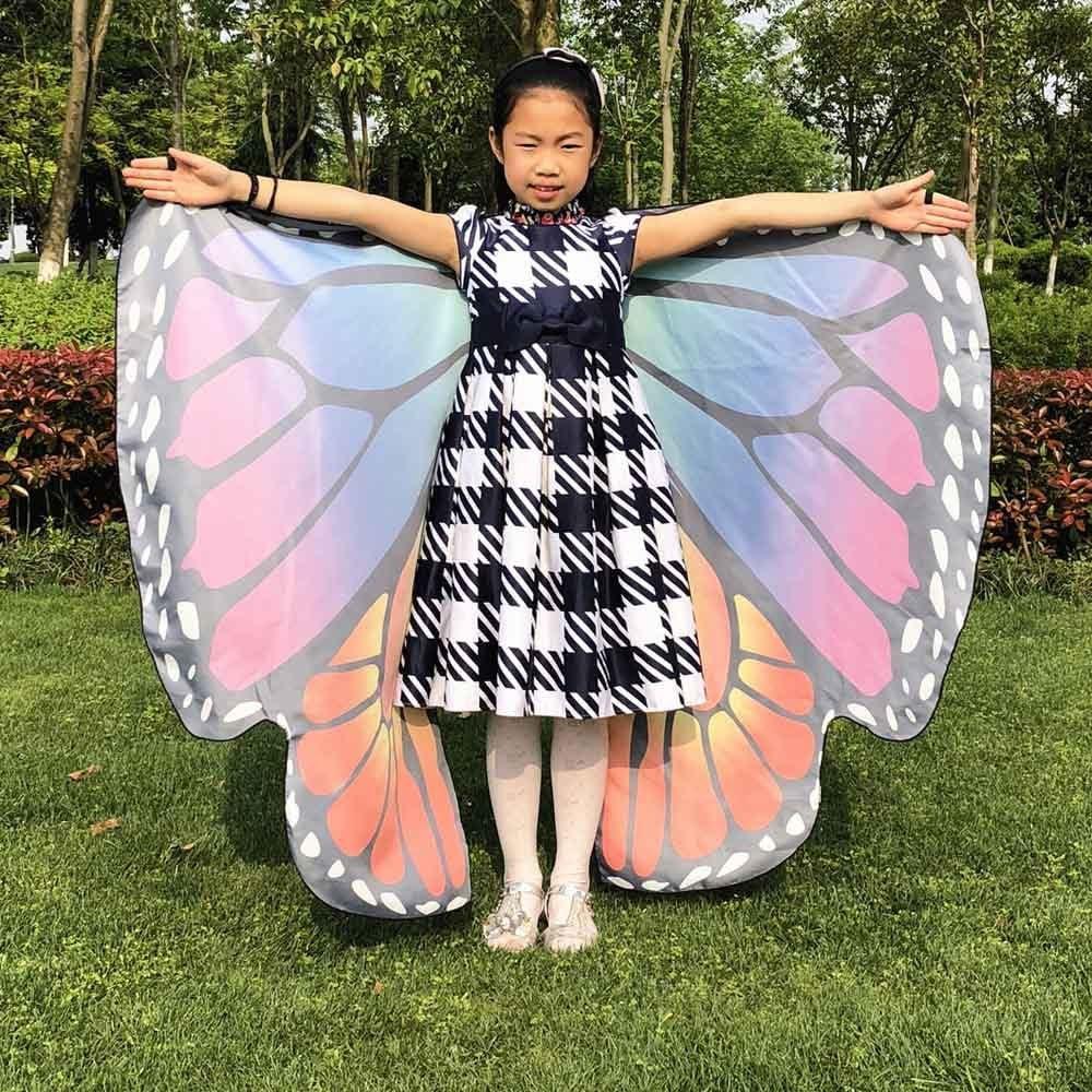 ZEZKT Kinder M/ädchen Schmetterlingsfl/ügel Schmetterling kost/üm Karneval Party Wasserdicht Kost/üm Weicher Stoff Faschingskost/üme Fee Damen Nymphe Pixie Kost/ümzubeh/ör