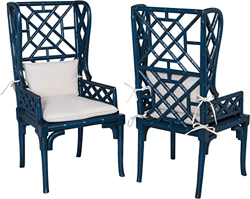 Sterling Home BAMBOO WING BACK CHAIR – Set of 2 seating, Blue