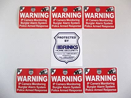 Amazon.com : BRINKS + 6 ADTL HOME SECURITY WINDOW STICKERS ...