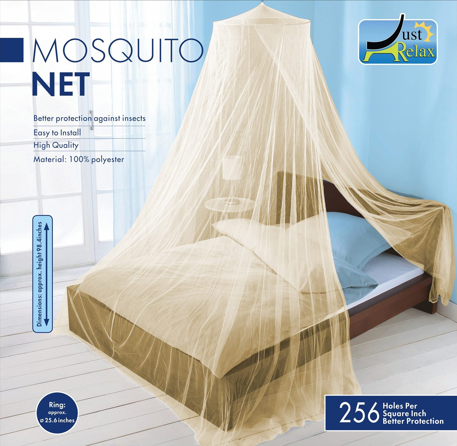 Just Relax MOSQUITO NET by, Elegant Bed Canopy Set Including Full Hanging Kit, Ideal For Indoors or Outdoors, Intended For a Perfect Fit for Covering Beds, Cribs, Hammocks (Beige, Twin/Full)