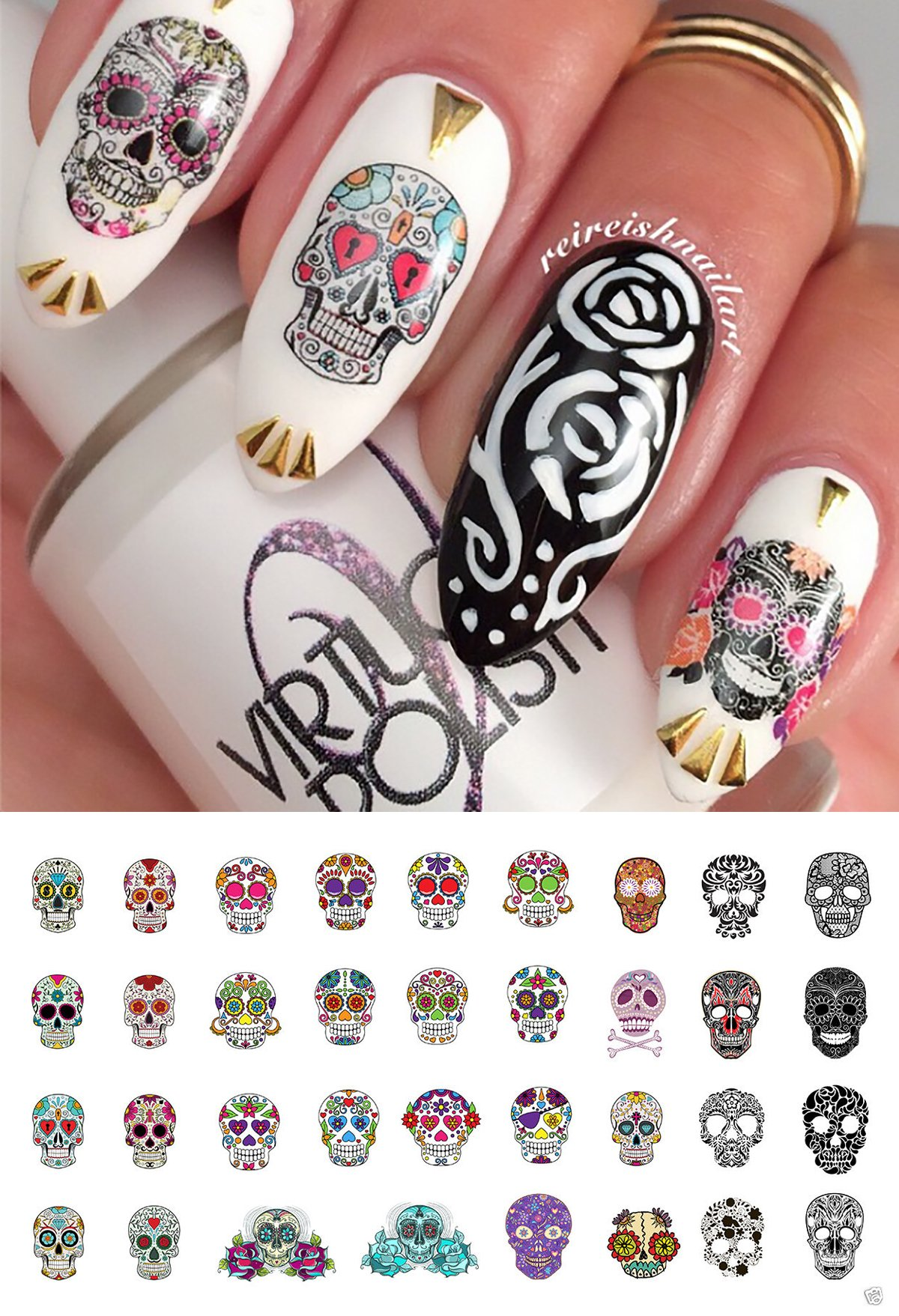 Amazon sugar skull nail decals assortment 1 water slide nail sugar skull nail art day of the dead decals assortment 2 featured in rachael prinsesfo Image collections