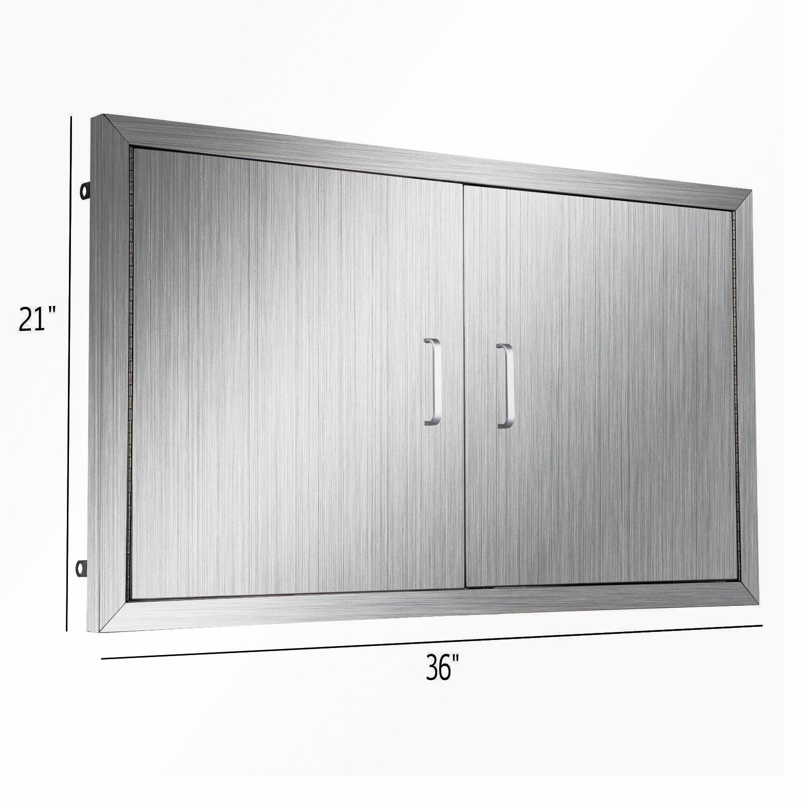 Happybuy BBQ island Door 36 Inch Flush Mount BBQ Access Door Commercial 304 Brushed Stainless Steel for Outdoor Kitchen