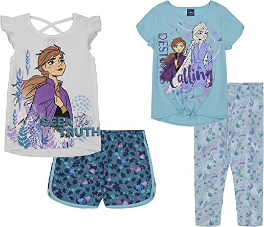 Disney Frozen Elsa Toddler Girls Ruffle Tunic Top /& Twill Shorts Clothing Set