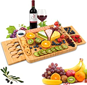 Bamboo Cheese Board Set, Wooden Cheese Server with Drawer, Fruit Food Board Set, Cheese Plate Tray for Wine, Crackers, Brie, and Meat