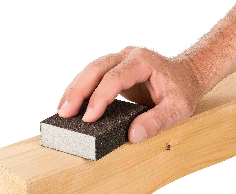 Blocco per levigatura a mano di alta qualit/à e adatte per diversi materiali /Set di 3 Grana Fine Media Grossa K60/K120/K220/I Per fai da te Smerigliatrice a Mano Spugna abrasiva/