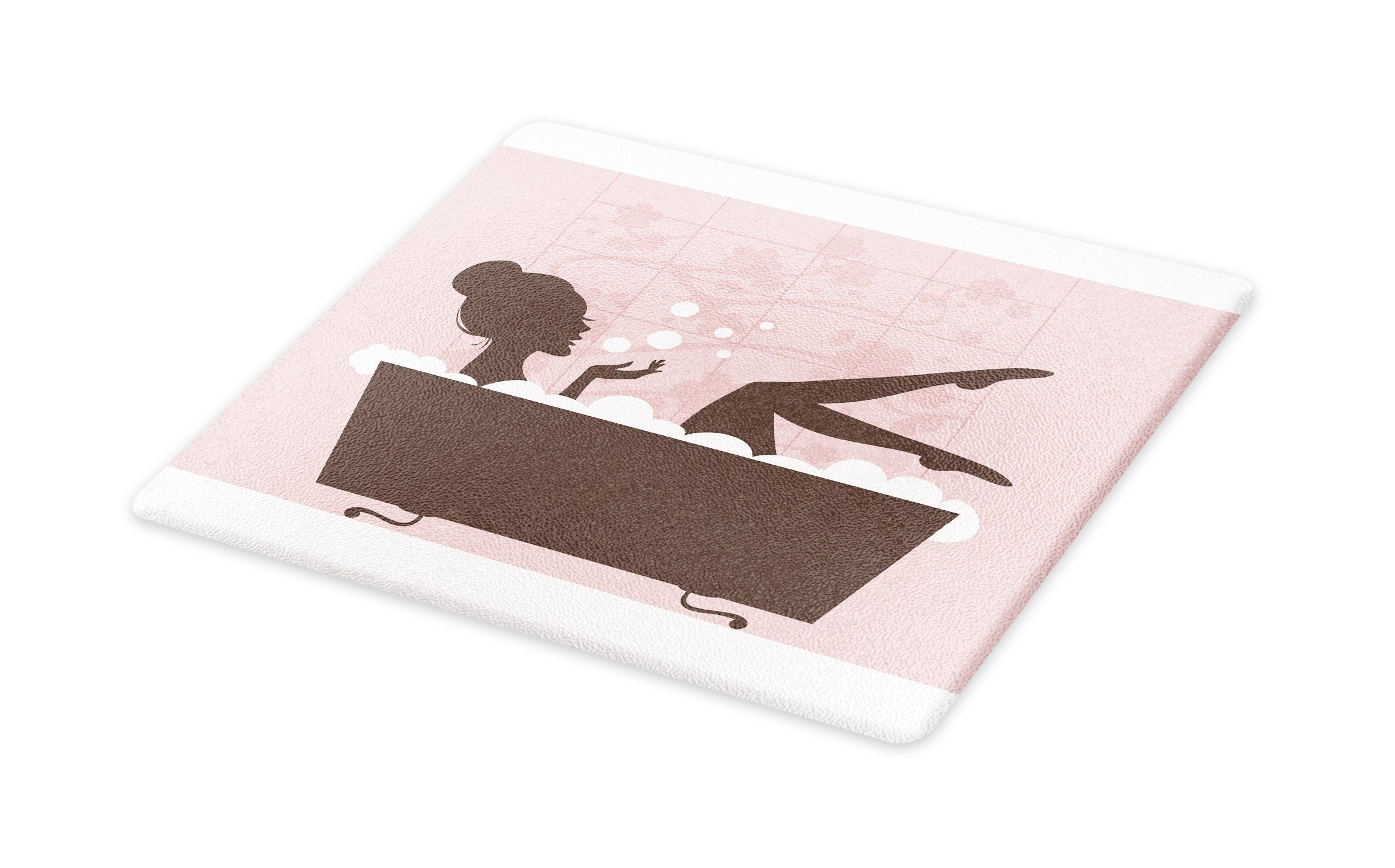 Lunarable Teens Girls Cutting Board, Beautiful Woman in Bath Tub Spa Treatment Relaxing Concept Vintage Style, Decorative Tempered Glass Cutting and Serving Board, Small Size, Pink Dark Grey