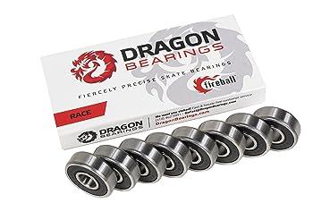 Fireball Dragon Precision Bearings for Skateboards, Longboards, Inline Skates, Roller Skates (Race 8-Pack, 608 Bearing)