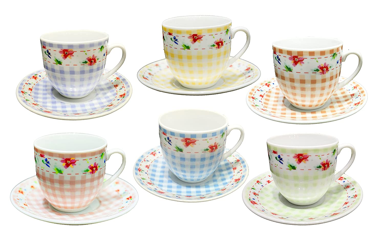 12 Pieces Total Borella Casalinghi Debora Porcelain Coffee Cup Set with Saucers Multi-Coloured