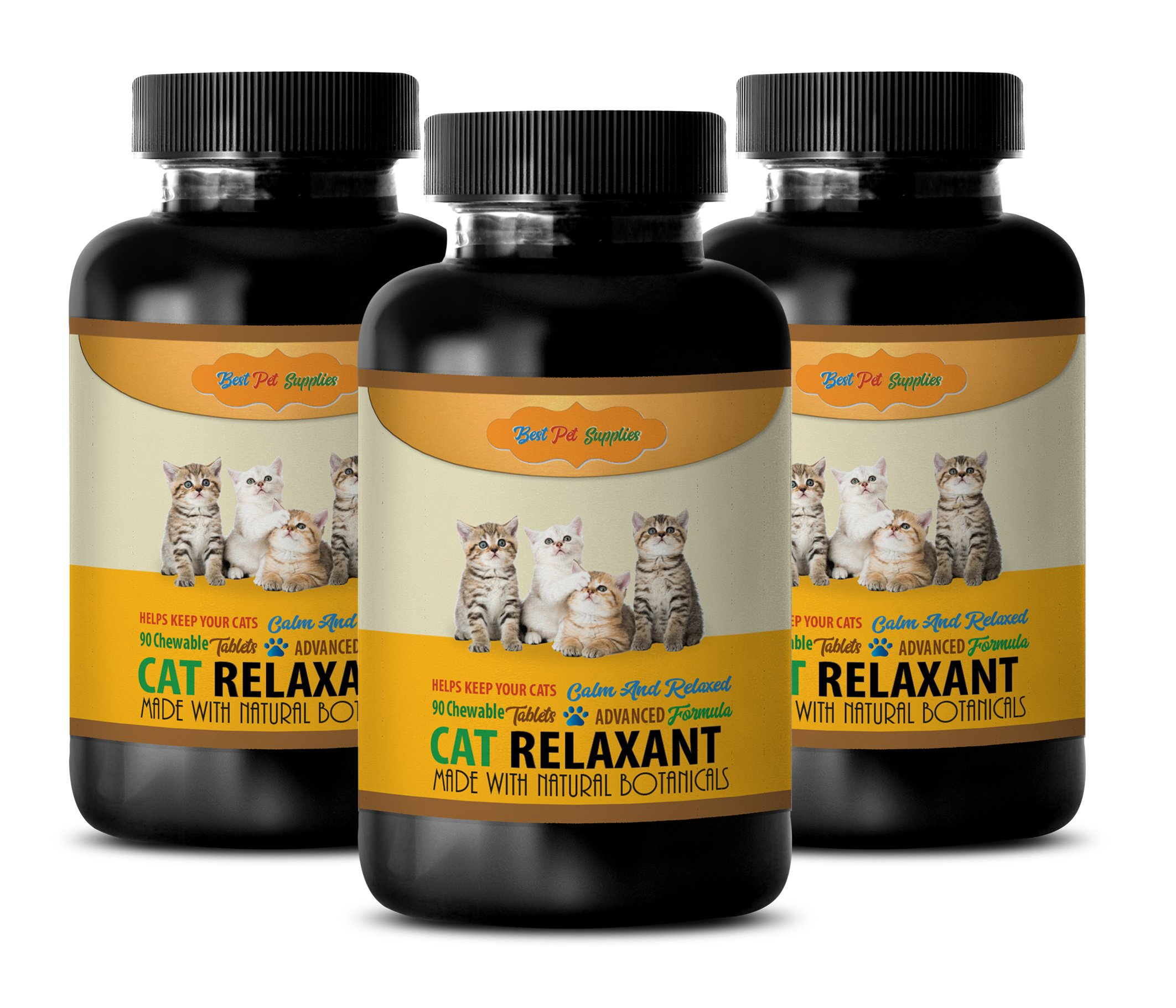BEST PET SUPPLIES LLC Calming Products for Cats - Relaxant - for Cats - Keep Calm Formula - Chewy Treat - Aggressive cat Calming Diffuser - 270 Treats (3 Bottles) by BEST PET SUPPLIES LLC