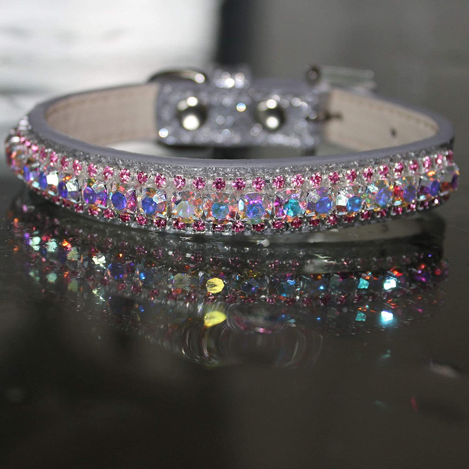 Gorgeous Dog Collar Deluxe colored Jewels Rhinestone Crystals Small Pet Bling!