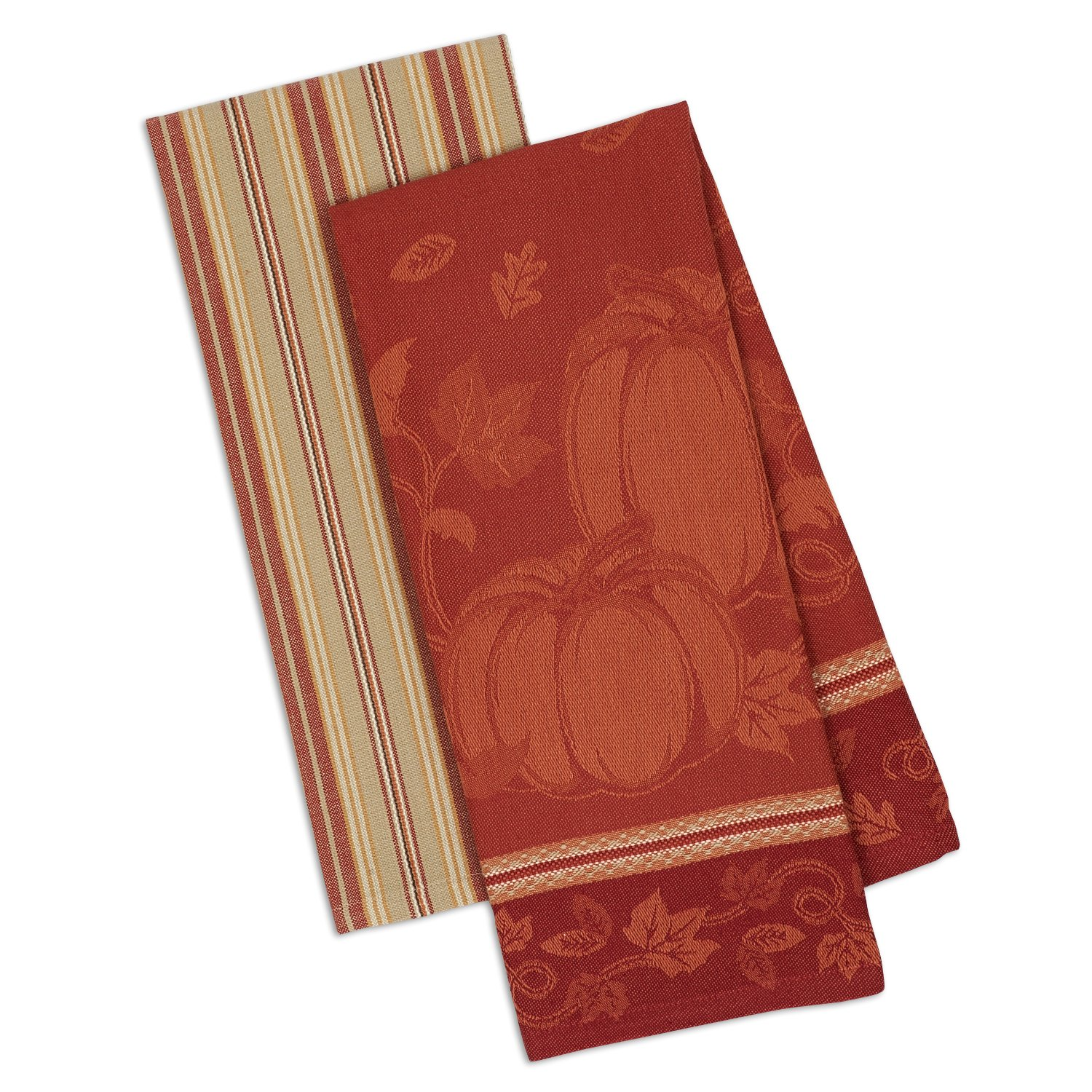DII Cotton Jacquard Dish Towels, 18x28'' Set of 2, Decorative Tea Towels for Everyday Kitchen Cooking and Baking-Pumpkin Vine by DII