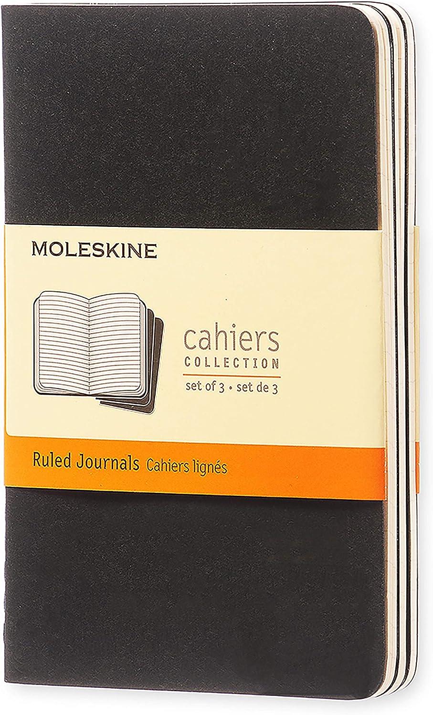 Moleskine - Cahier Journal Cuaderno de Notas, Set de 3 Cuadernos con Páginas , Tapa de Cartón y Cosido de Algodón Visible, Color Negro