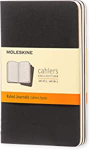 "Moleskine Cahier Journal, Soft Cover, Pocket (3.5"" x 5.5"") Ruled/Lined, Black, 64 Pages (Set of 3)"