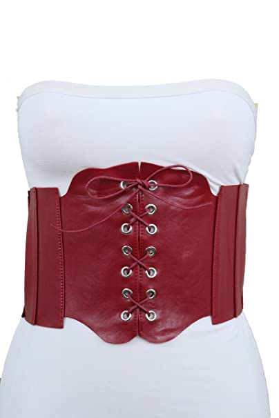 1cab0c027d0 TFJ Women Wide Elastic Corset Belt High Waist Waistband Plus M L XL Dark Red
