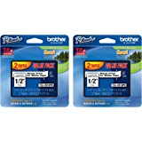 Brother TZE2312PK 1/2-inch Standard Laminated P-Touch Tape, Black on White, tiBvIx 2 Pack (tape)