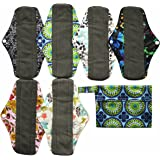 7pcs Set 1pc Mini Wet Bag +6pcs 10 Inch Regular Charcoal Bamboo Mama Cloth/ Menstrual Pads/ Reusable Sanitary Pads by…
