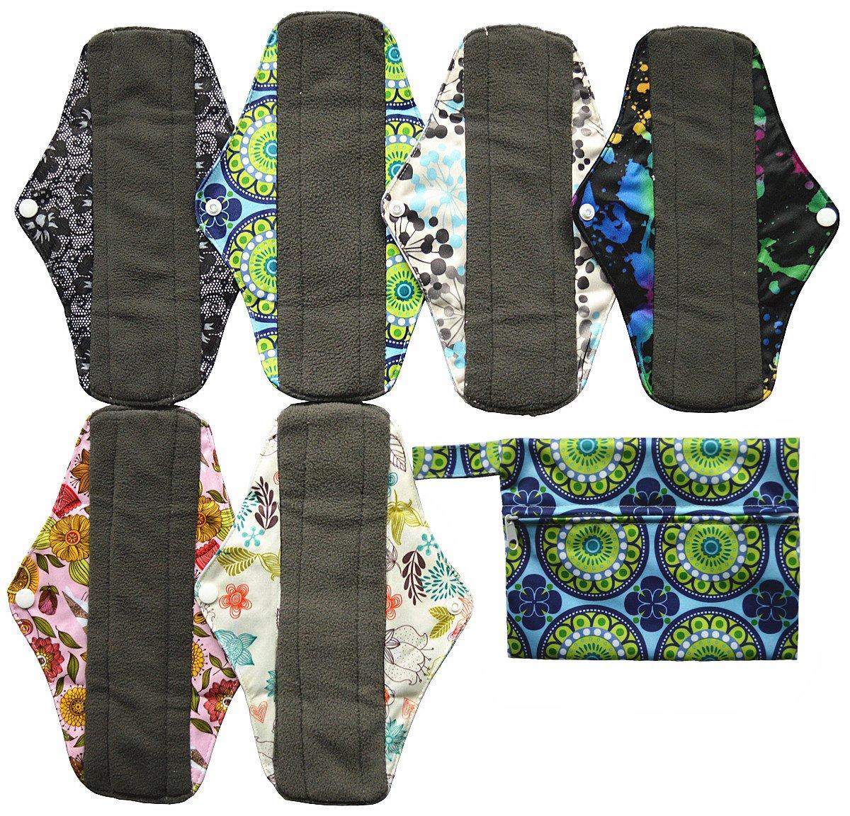 7pcs Set 1pc Mini Wet Bag +6pcs 10 Inch Regular Charcoal Bamboo Mama Cloth/ Menstrual Pads/ Reusable Sanitary Pads Hibaby