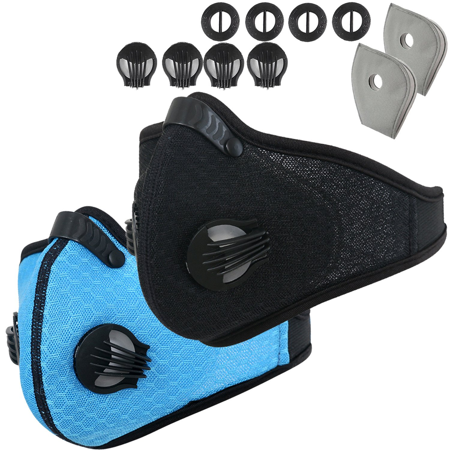 Dustproof Mask - Activated Carbon Dust Masks - with Extra Filter Cotton Sheet and Valves for Exhaust Gas, Anti Pollen Allergy, PM2.5, Running, Cycling, Outdoor Activities (2 Pack Black+Blue, Type 1)