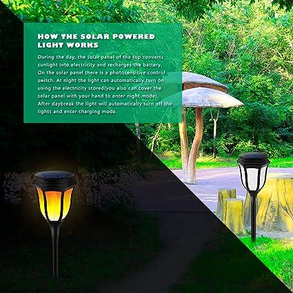 2er Set LED Solarfackel Solar Fackel flackernde Flamme Garten Au/ßen Leuchte Feuer Effekt