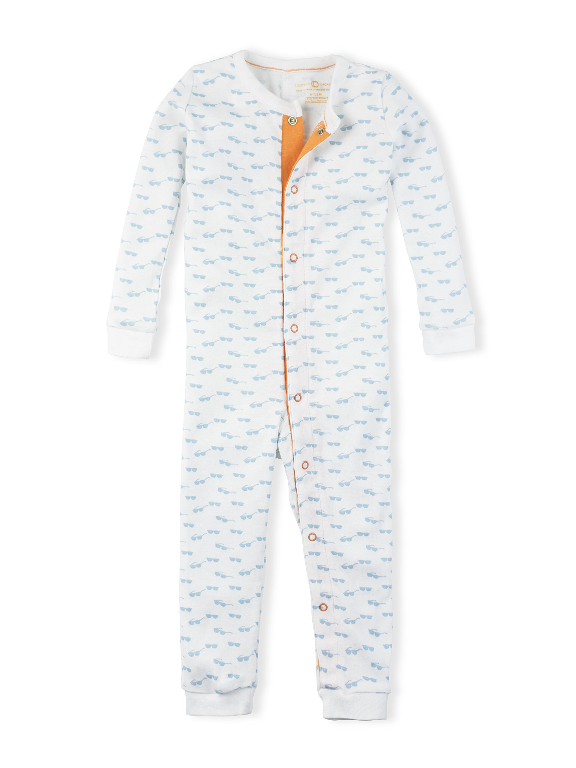 Colored Organics Baby Unisex Peyton Long Sleeve Organic Sleeper - White/Mist Sunglass Print - 18-24M by Colored Organics