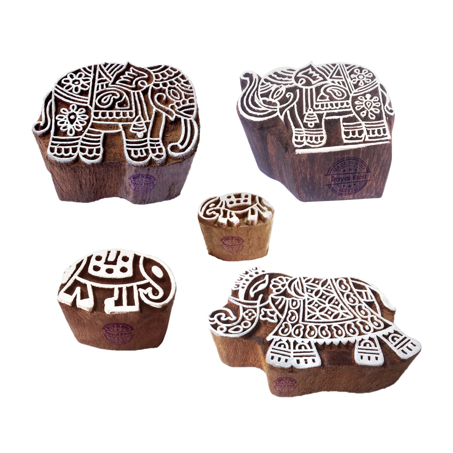 Retro Shapes Mix and Elephant Wood Block Print Stamps (Set of 5)