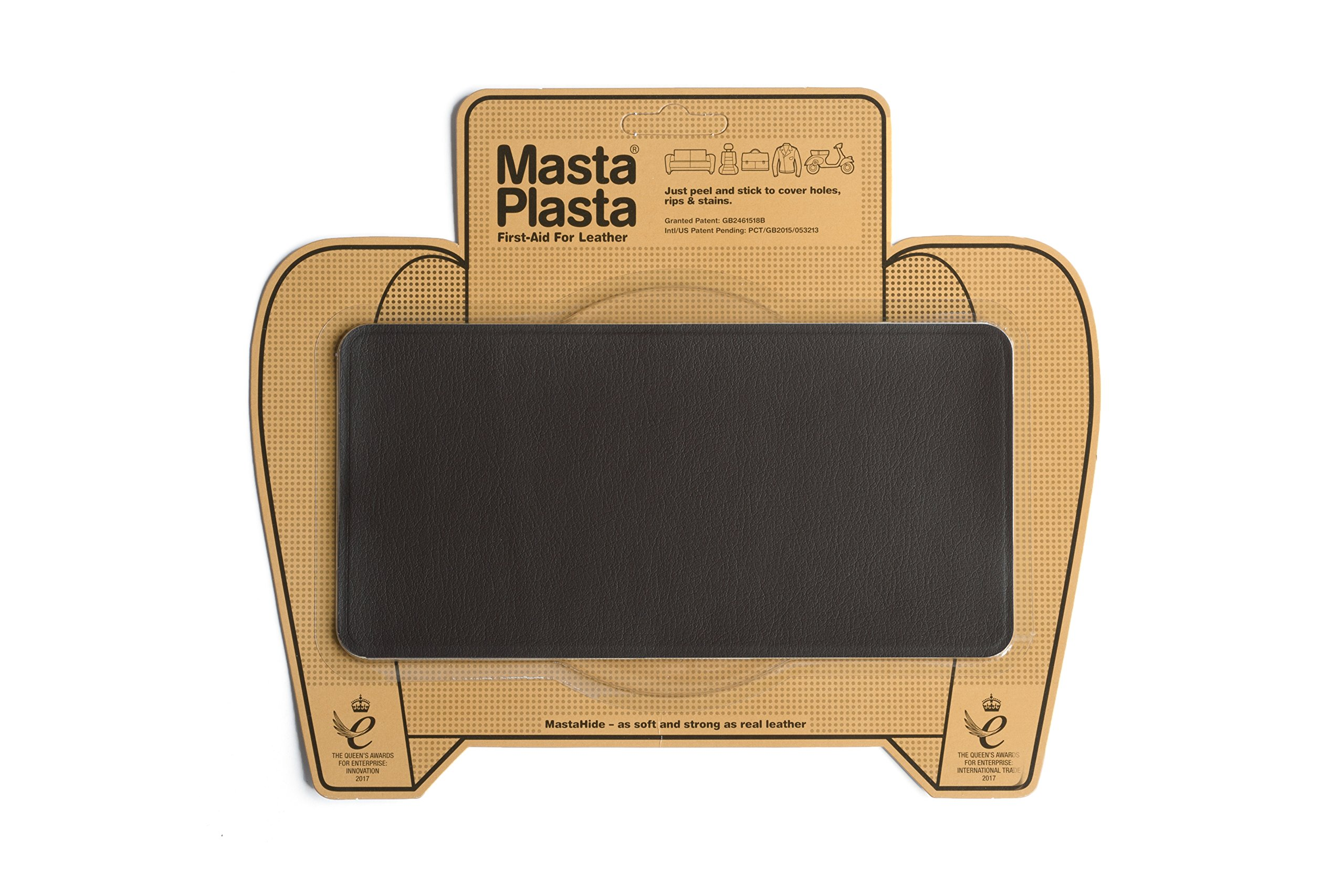 MastaPlasta Leather Repair Patch Firstaid for Sofas Car Seats Handbags Jackets etc Dark Brown Color Plain 8 inch by 4 inch Designs Vary
