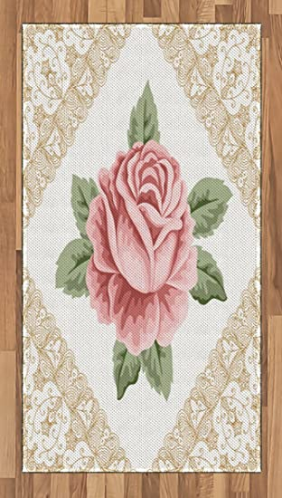 Amazon.com: Floral Area Rug by Lunarable, Lace Ornate Vintage Rose ...