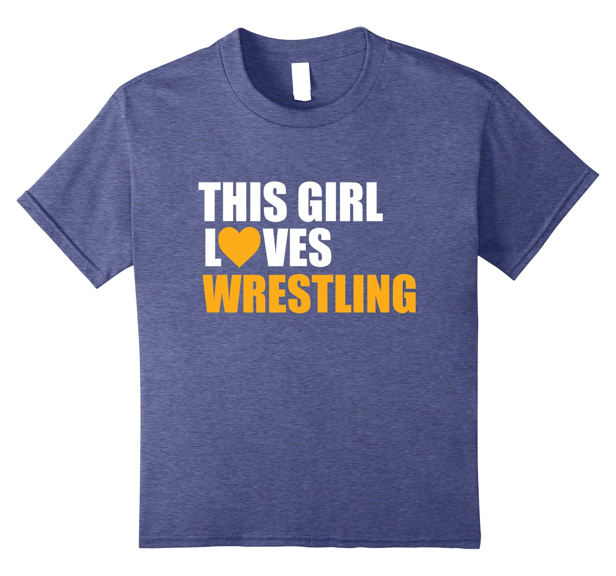Kids Funny Wrestling Shirt This girl love wrestling 12 Heather Blue
