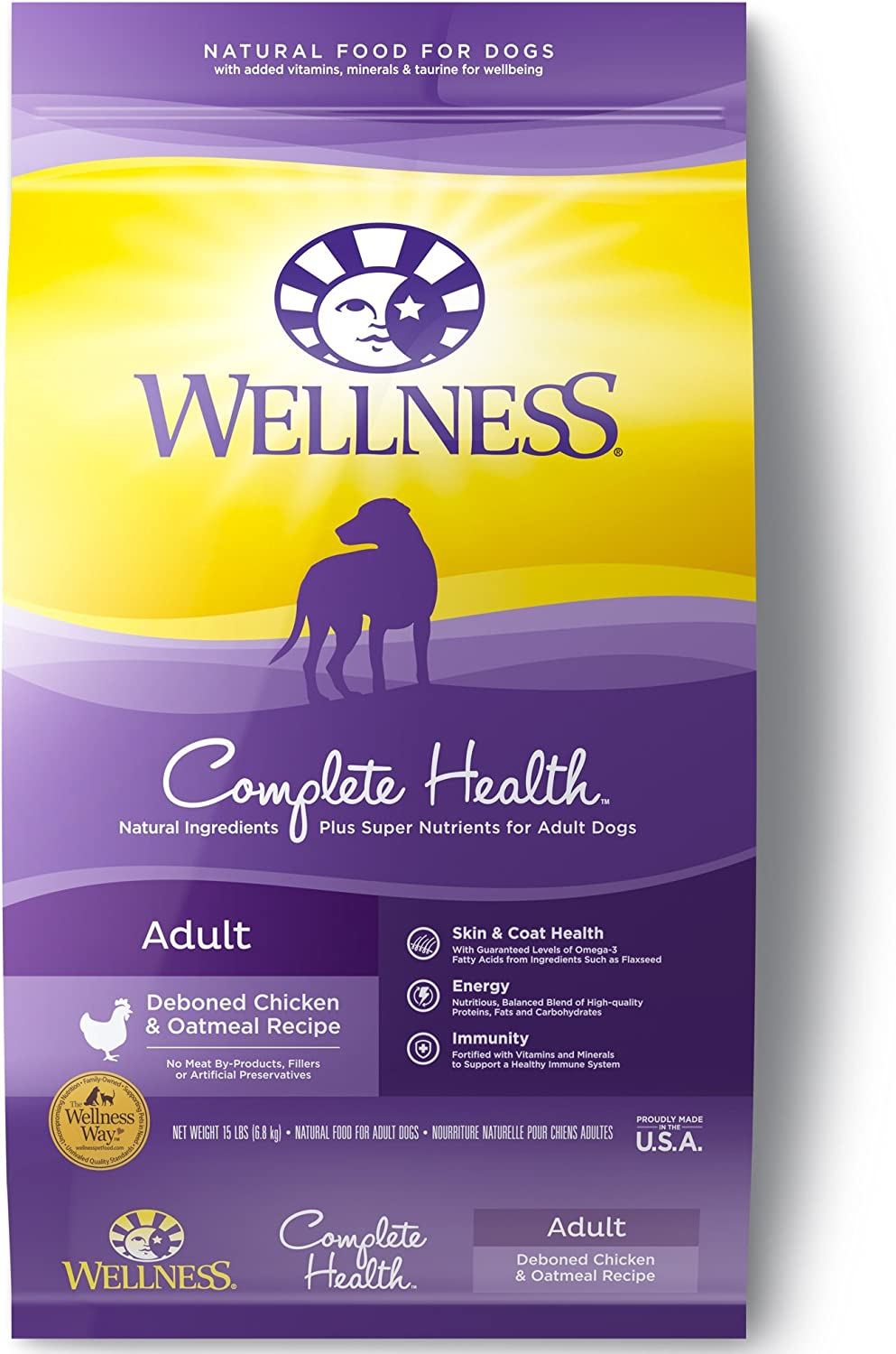 Wellness Complete Health Natural Dry Dog Food, Chicken Oatmeal, 15-Pound Bag