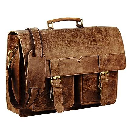 5960a8e02fd9 Image Unavailable. Image not available for. Color  Handmade world 16 quot  Leather  Messenger Bag Vintage Buffalo Satchel Laptop Briefcase Unisex Computer ...