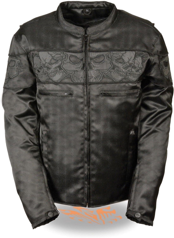 Milwaukee Leather Mens Reflective Skulls Textile Jacket