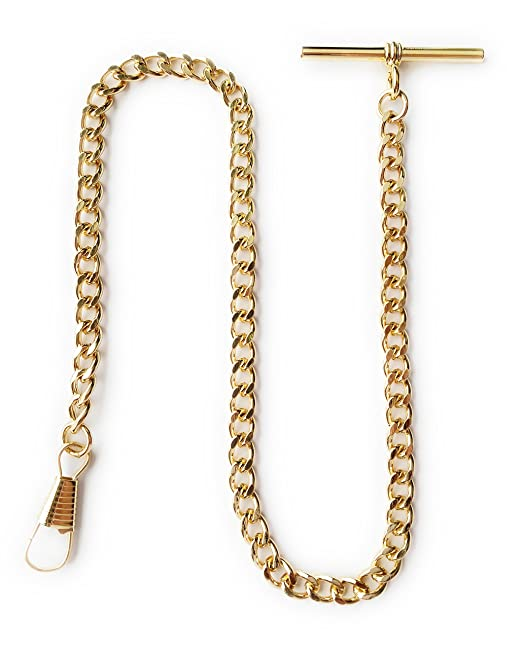 Edwardian Men's Accessories Desperado Gold Albert Vest Pocket Watch Chain with T bar 3910-G $15.99 AT vintagedancer.com
