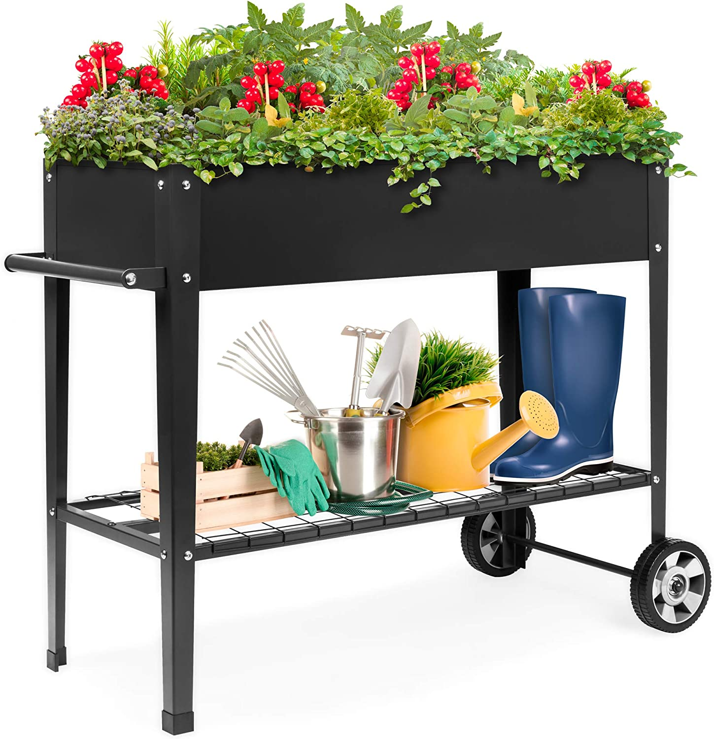 Best Choice Products Elevated Mobile Rised Ergonomic Metal Planter Garden Bed for Backyard, Patio w/Wheels, Lower Shelf, 38x16x32in, Dark Gray