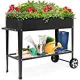 Best Choice Products Elevated Mobile Rised Ergonomic Metal Planter Garden Bed for Backyard, Patio w/Wheels, Lower Shelf, 38x1