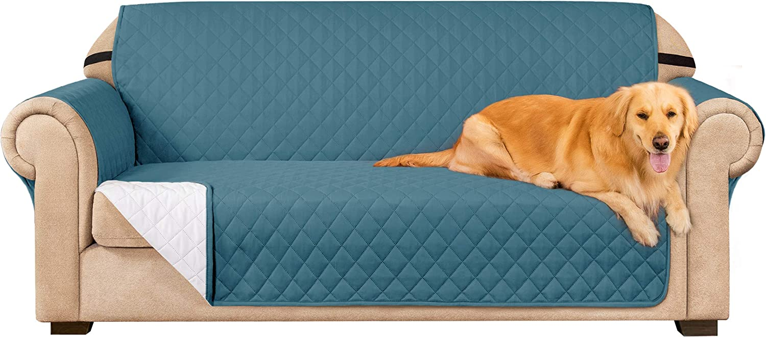 Subrtex Sofa Slipcover Reversible Sofa Cover Couch Cover Furniture Protector with Elastic Straps in Livingroom Non-Slip Washable Couch Chair for Pets Kids Children (Oversize Sofa, Turquoise)