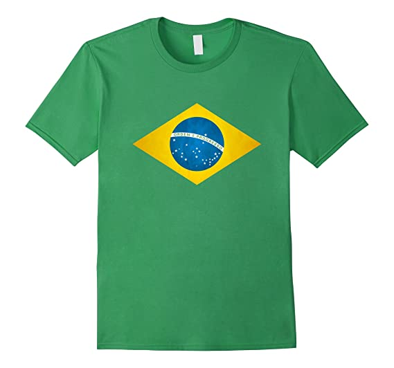 Mens Brazilian Flag - Bandeira Do Brasil Camiseta - T Shirt 2XL Grass