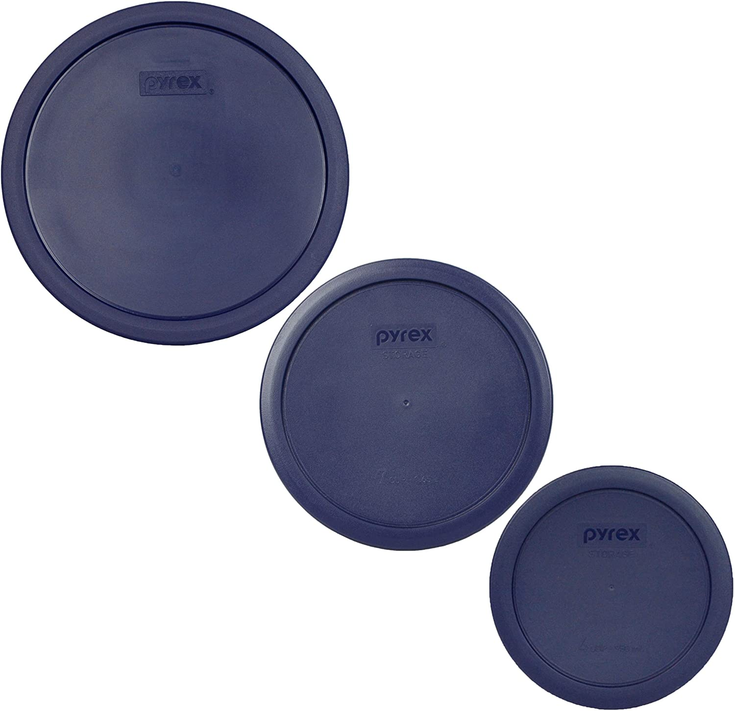 Pyrex (1) 7403-PC 10 Cup (1) 7402-PC 6/7 Cup (1) 7201-PC 4 Cup Blue Round Replacement Food Storage Lids