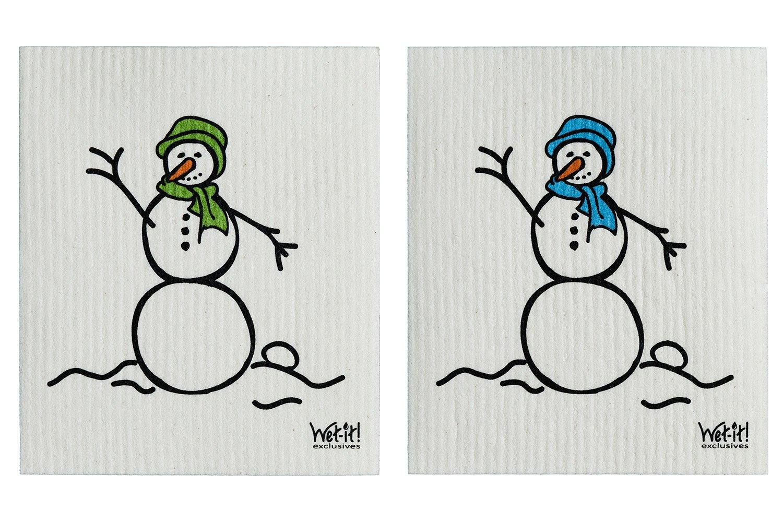 Wet-It Swedish Treasures Dishcloths Set of 2 (Blue & Green Snowman)