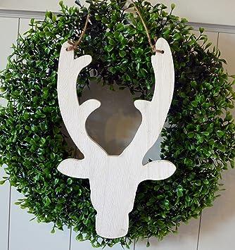 Weihnachtsdeko Für Die Tür.Amazon De Weihnachtsdeko Elch Hirsch Rentier Kopf Aus Holz Weiß