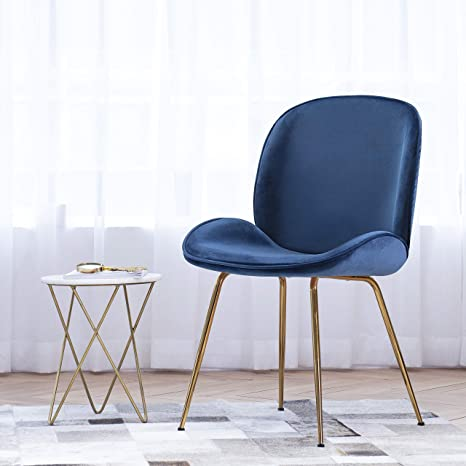 Art Leon Velvet Chair Soft Upholstered Modern Shell Beetle Leisure Chair with Golden Legs for Living Dining Room Bedroom Dresser Vanity (Royal Blue)