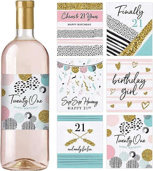 Amazon.com: Etiquetas para botellas de vino de 21 cumpleaños ...