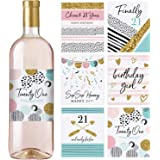 21st Birthday Wine Bottle Labels, Set of 6 Waterproof Labels, Birthday, 21st Birthday Party Decorations, Ideas and…