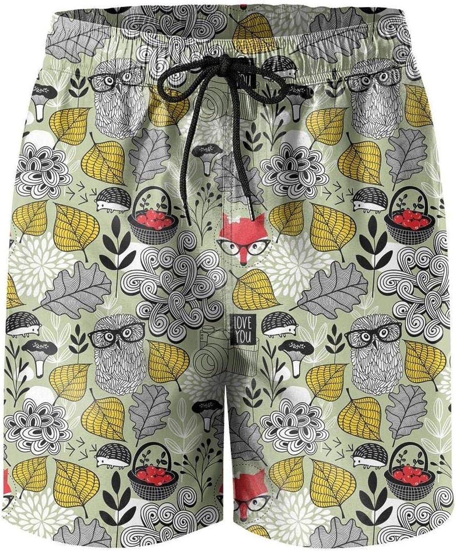 Men Christmas Vintage Pop Owls Adjustable Waistline Board Shorts Fashion Running Trunks