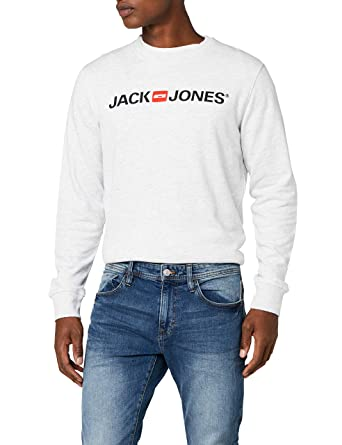 JACK & JONES 12131291, Sudadera Para Hombre, Gris (White Melange Fit:reg