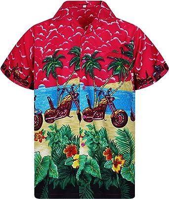 Original King Kameha | Funky Camisa Hawaiana Señores | XS-6XL |Manga Corta Bolsillo Delantero | impresión De Hawaii| Bikes