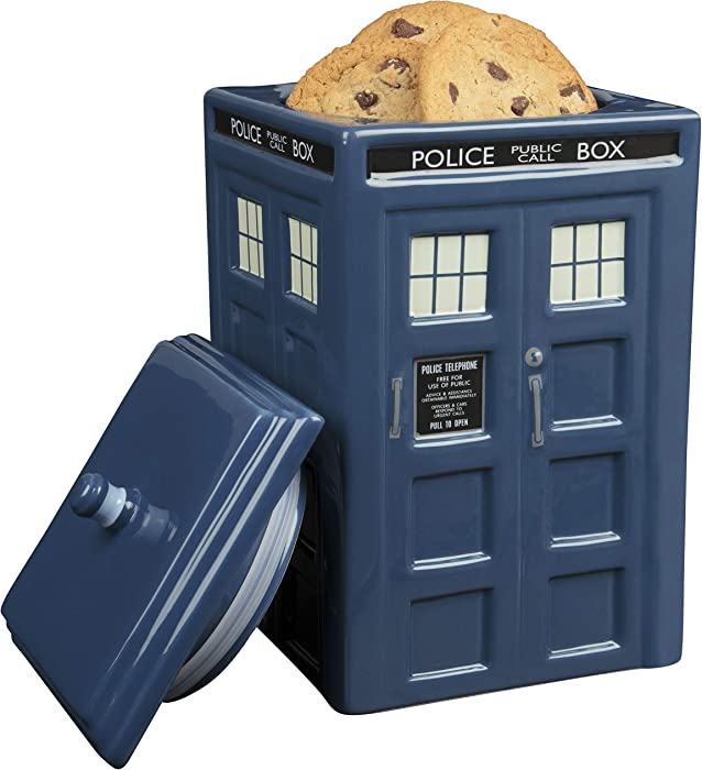 "Doctor Who TARDIS Cookie Jar - Collectible Ceramic Dr. Who Police Box with Lid - 10""h"
