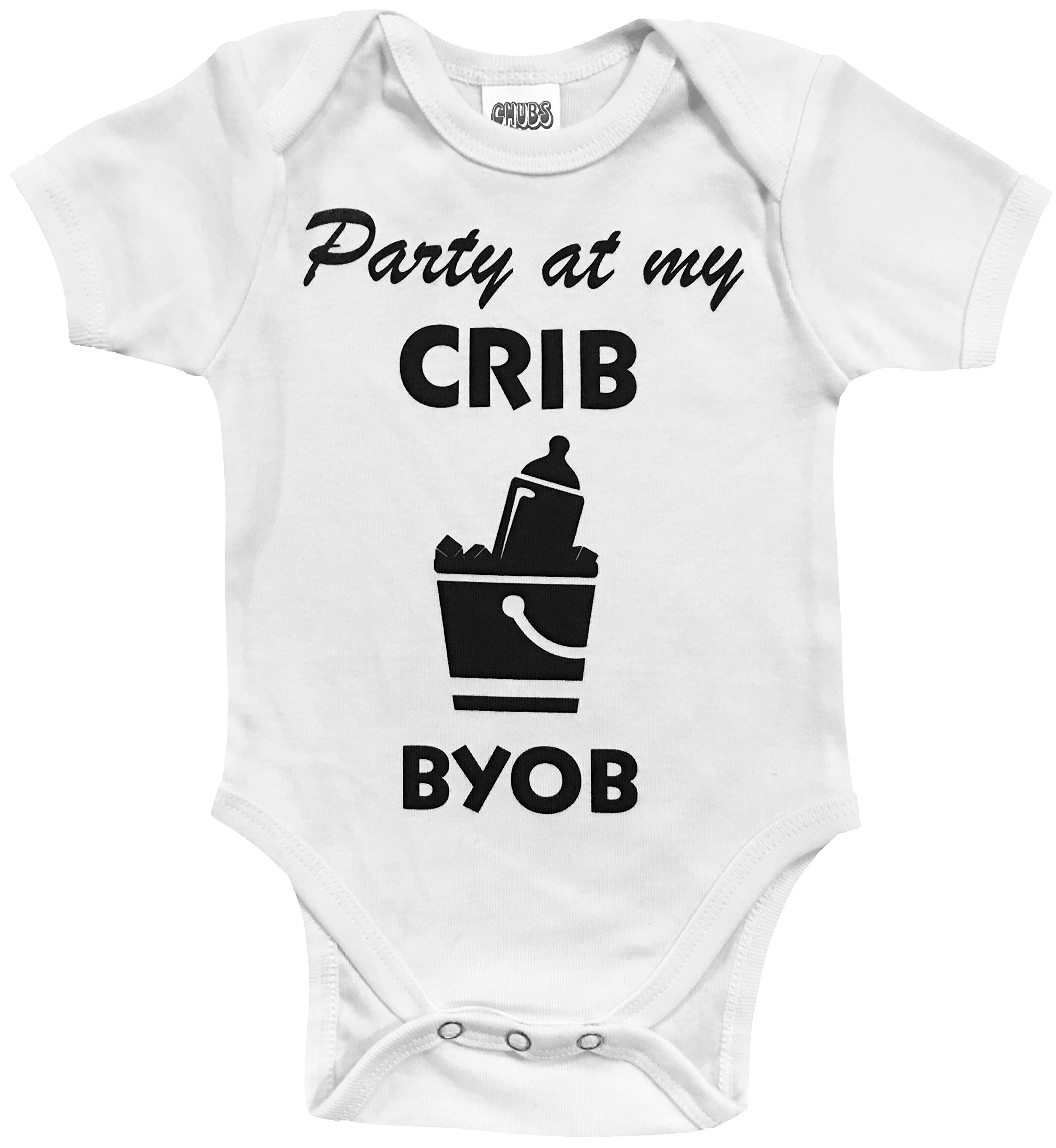 CHUBS Party At My Crib Bodysuit, Our Funny Baby Clothes Are Proudly Made In The USA! (6-9 Months)