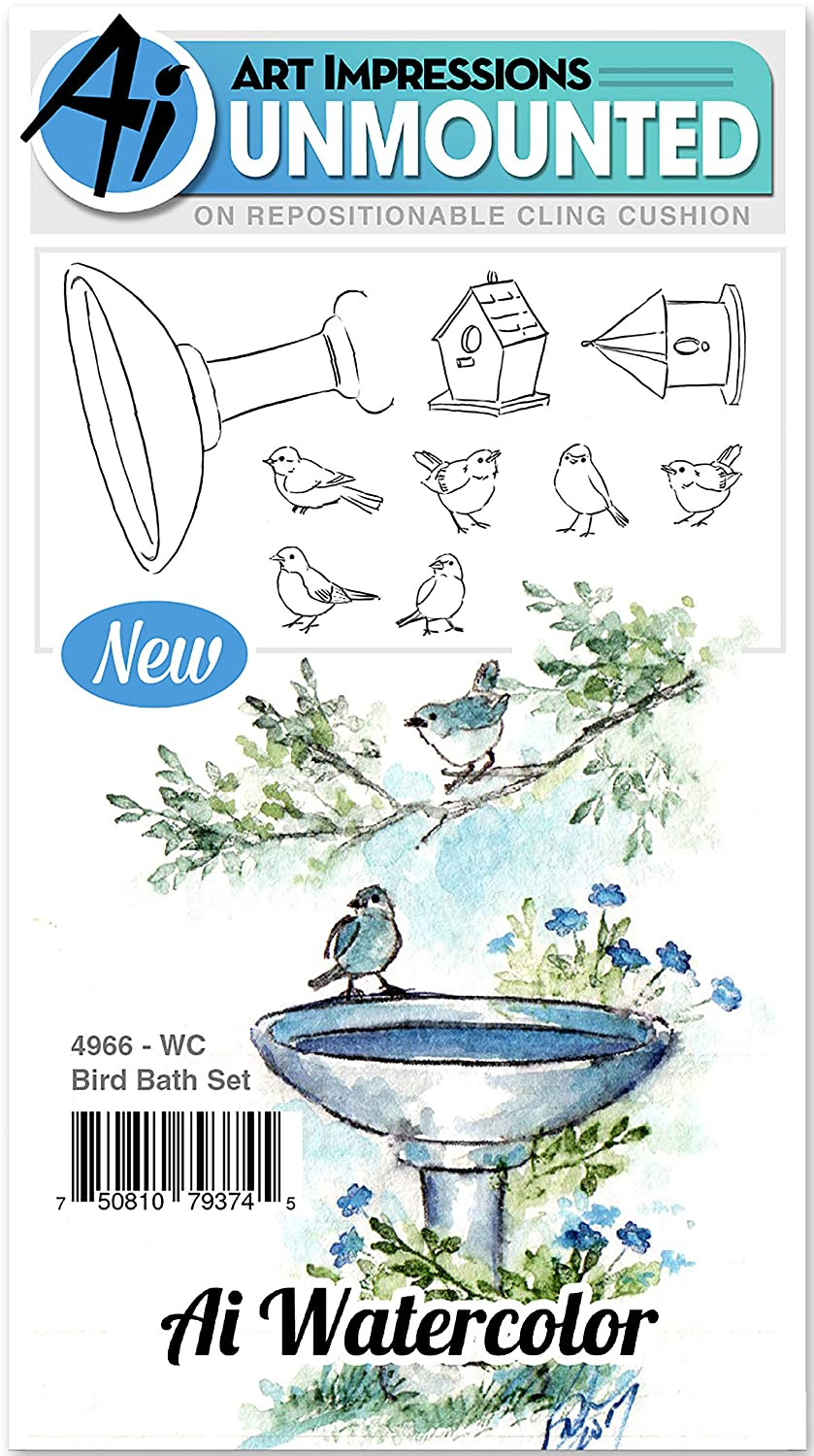 Art Impressions WC4966 Watercolor Cling Rubber Stamps Bird Bath